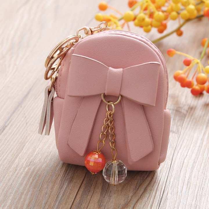 MoonSister Women Bow Zipper Key Bag Short Wallet Coin Purse Card Holders Handbag