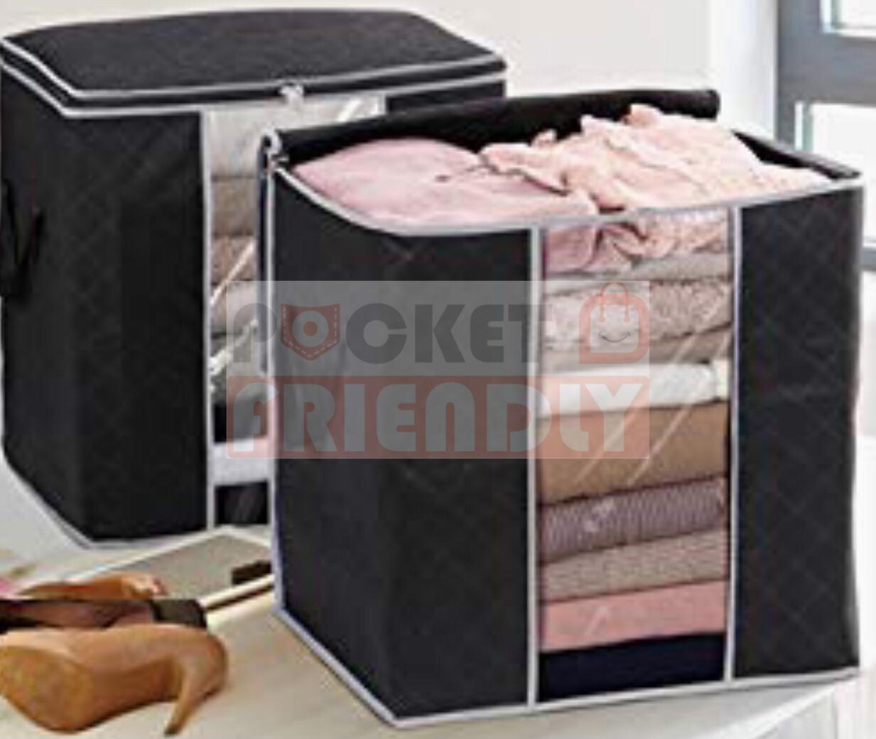 Pack Of 6 Waterproof Storage Bag Closet Organizer home portable space saver large capacity with Clear Window, Reinforced handle Cloth Box for Wardrobe organizer Pillow Quilt Bedding dual Zipper Bag Camping Equipment Travel bin topsky storage boxes