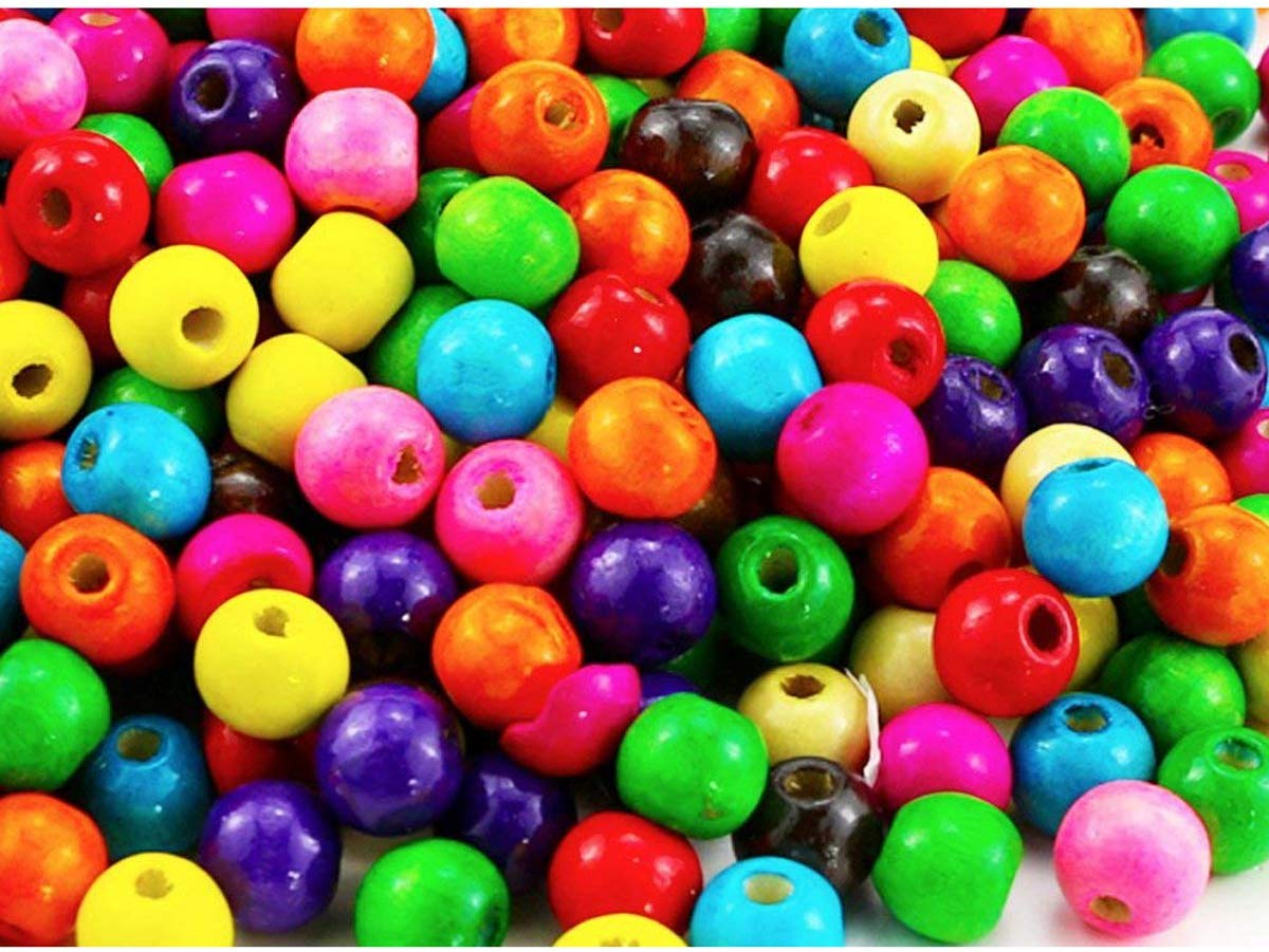 100 PCS Assorted Color Round Wood Beads Wooden Spacer Beads for DIY Jewelry Making, 12mm