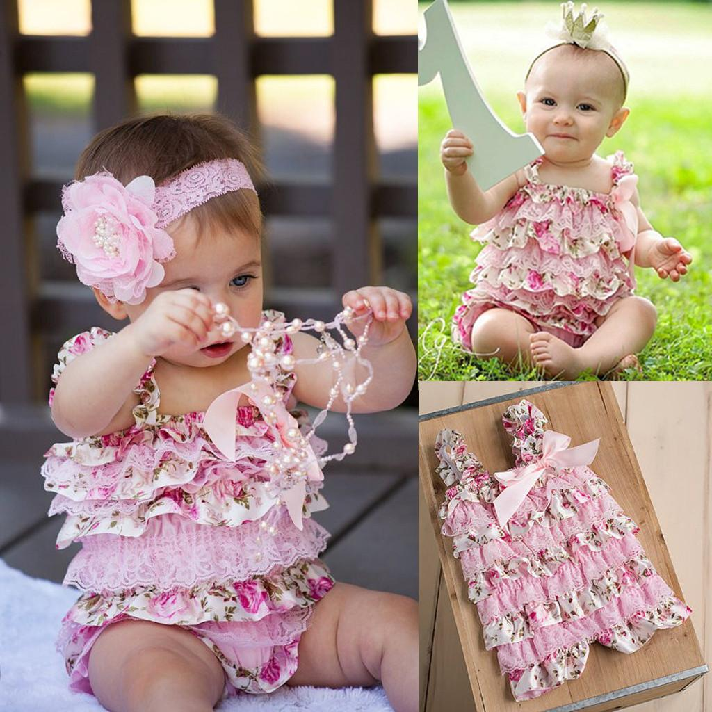 6f21c4ee770bf Newborn Infant Baby Girls Romper Ruffle Lace Cake Floral Jumpsuit Outfits
