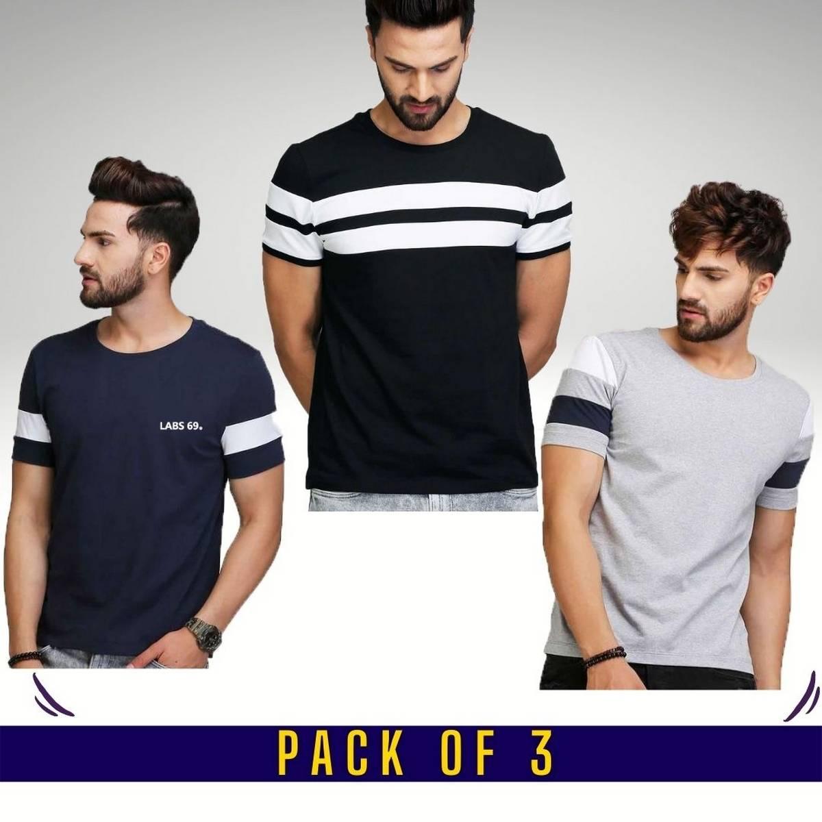 High Quality Pack of 3 Half Sleeves Designer T-shirts For Men For Summer