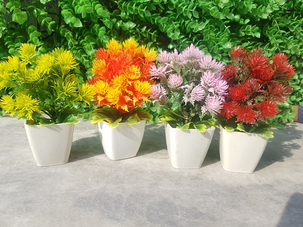 Pack of 4 Mini Plant Artificial Decoration Piece with pot Best for home & Office Decoration purpose
