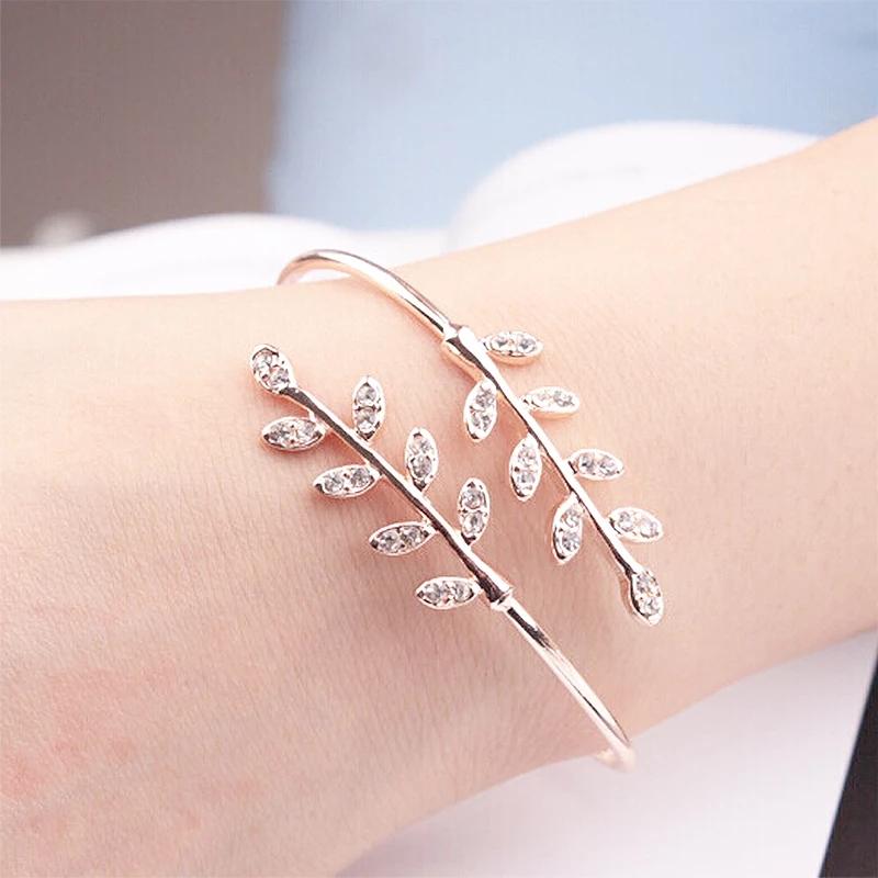 Fashion Open Adjustable Bracelet Bangle Creative Tree Leaf Insert Crystal Zircon Gold  Women Temperament Jewelry Accessory
