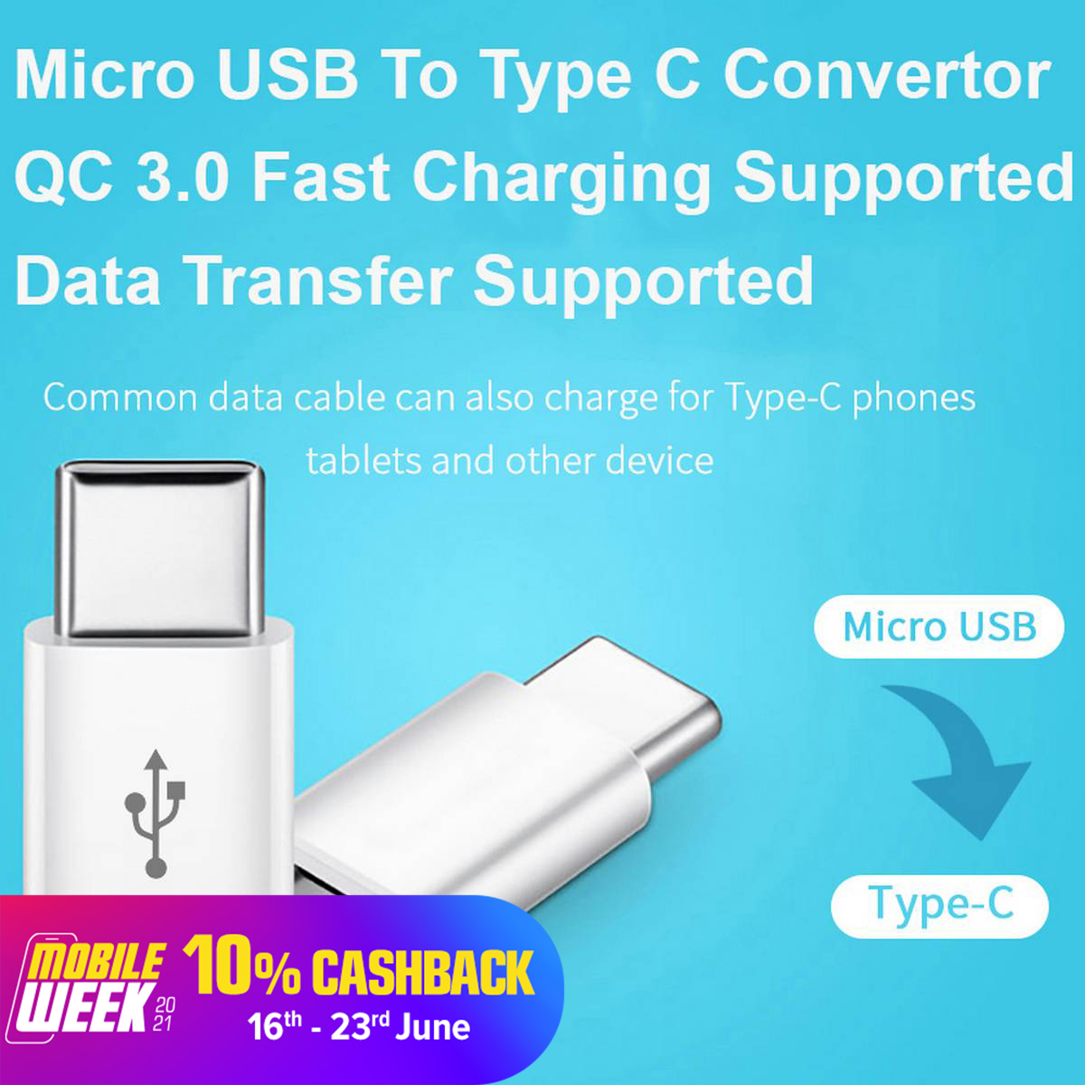 Micro USB to Type C Adapter / Male to Female / Fast Charging + Data Transfer / Converter / Connector - Black