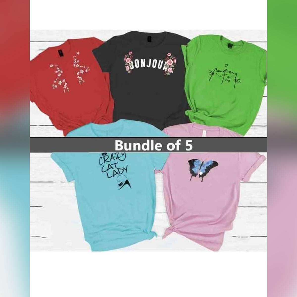 Bundle of 5 Multi colour Round Neck half Sleeves Printed Cotton T Shirt For Ladies Women & Girls