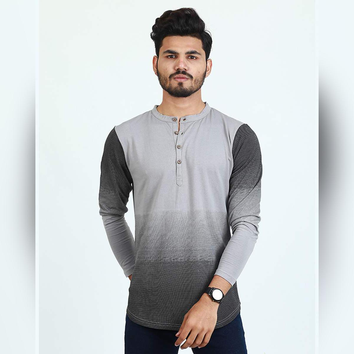 Long Sleeves Henly Printed Tshirt For Men