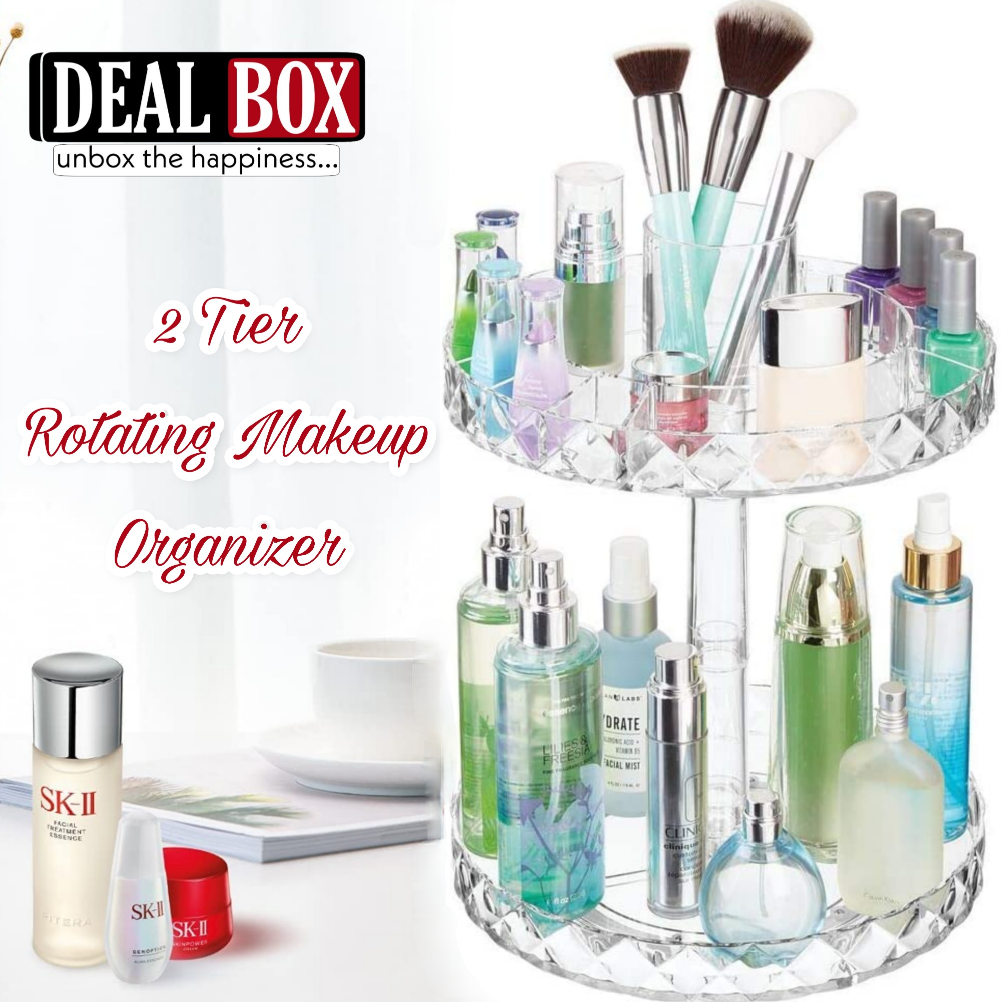 360° Rotating Makeup Organizer Stand 2 Tier - Cosmetic Holder Acrylic