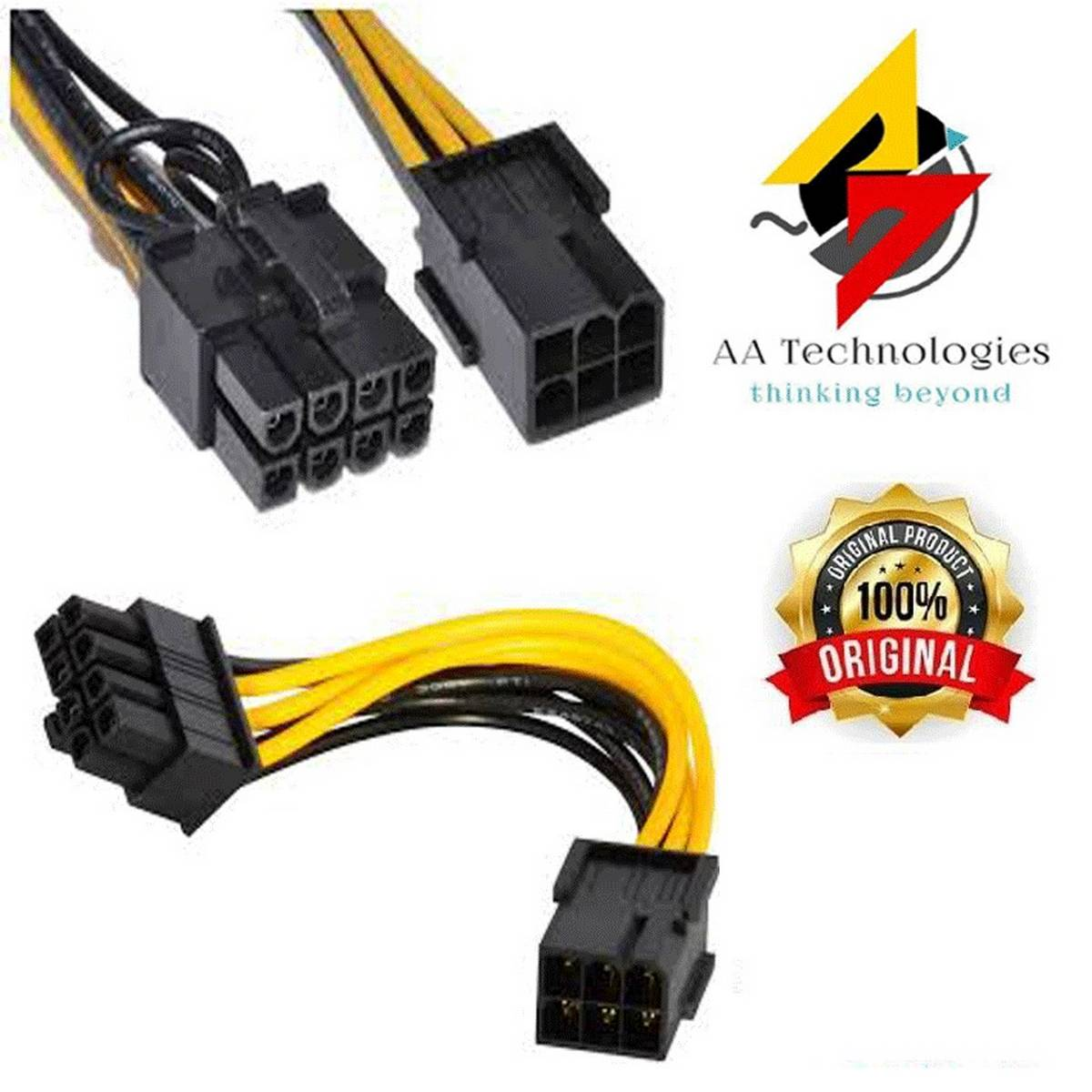 6 Pin Female To 8 Pin Male PCI Express Power Converter 10 CM