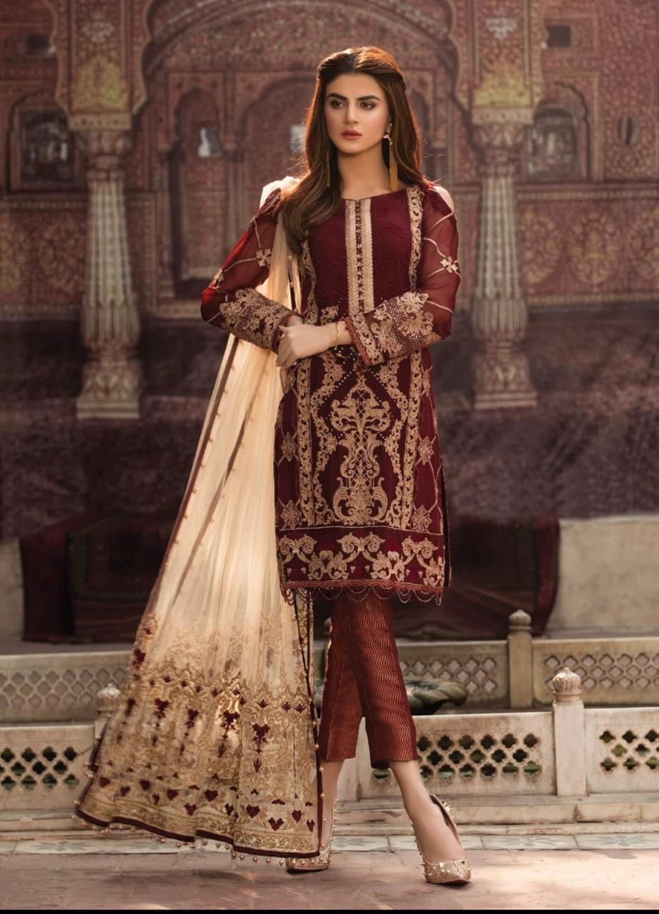 dce016b9d7 ... Party Wear. Unstitched Chiffon Embroidered Suit For Women - 3 Piece