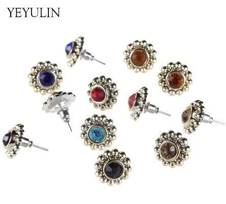 adf79f88b New Arrival Antique Rhinestone Round Shaped Resin Metal Alloy Stud Earring  For Women Girl Ear Jewelry