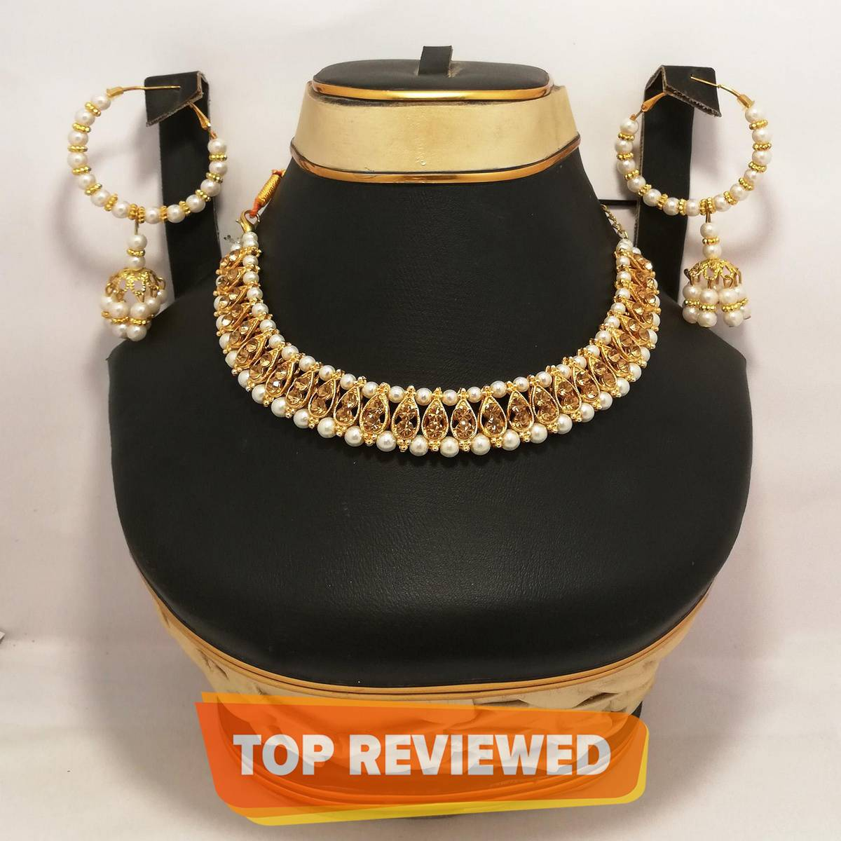 Stylish Pearl Necklace With Earrings-Fancy Jewellry Box Free-Beautiful Gift Pack