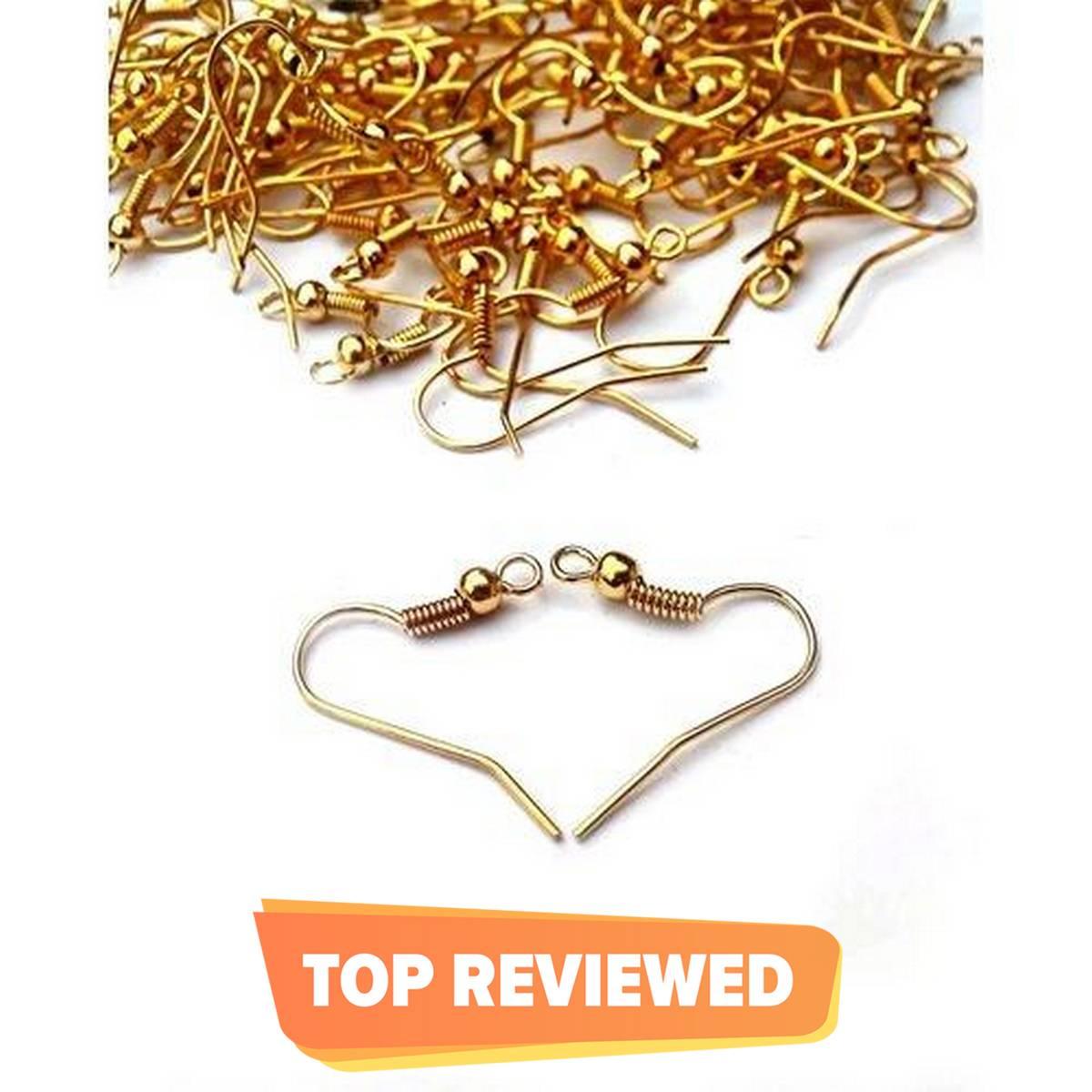 50 Pairs Golden Earring Hooks Base For Jewellery Making