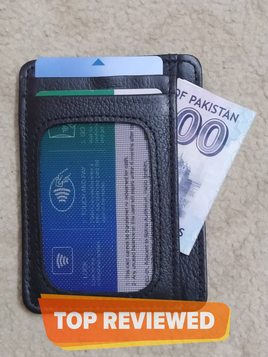 Slim Minimalist And Small Card Holder Wallet of Pure Cow Leather  To Carry  ATM | Credit | Contact Cards And Cash With 8 Pockets - Black