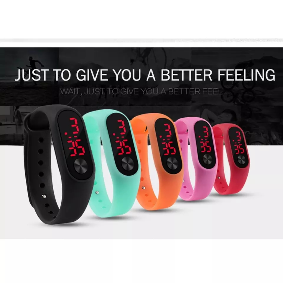 Pack of 5- Multicolor M3 Digital watch band touch led bracelet sports wristwatch for Boys Girls-