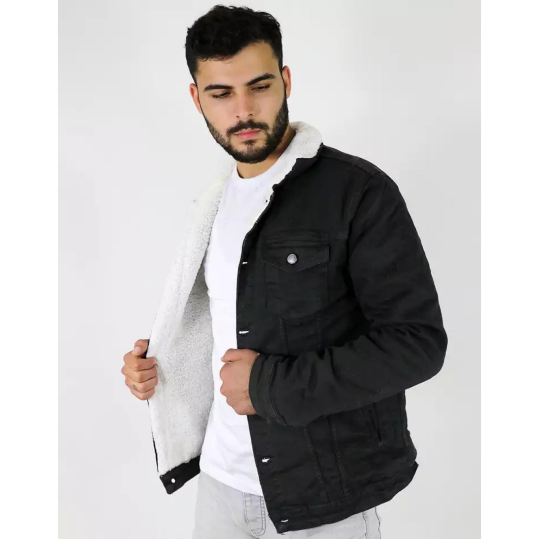 LA CASA Denim Jacket For Men - Black Jeans Jacket With Original Wool