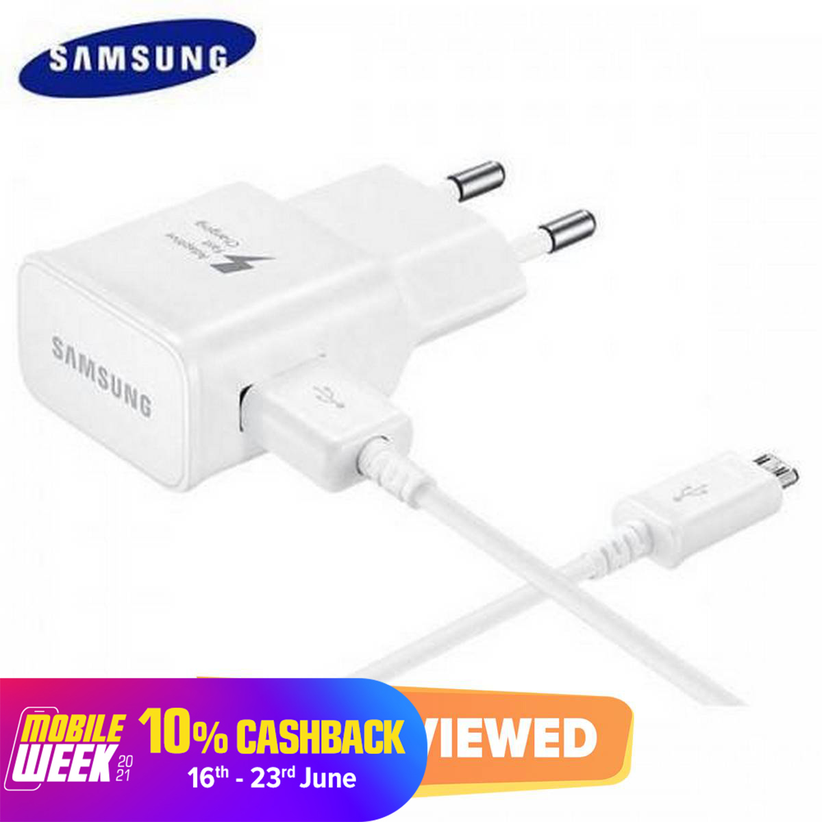 Adaptive Fast Wall Charger for Samsung Galaxy S7/S7 Edge/S6/Note5/4 /S3 - White