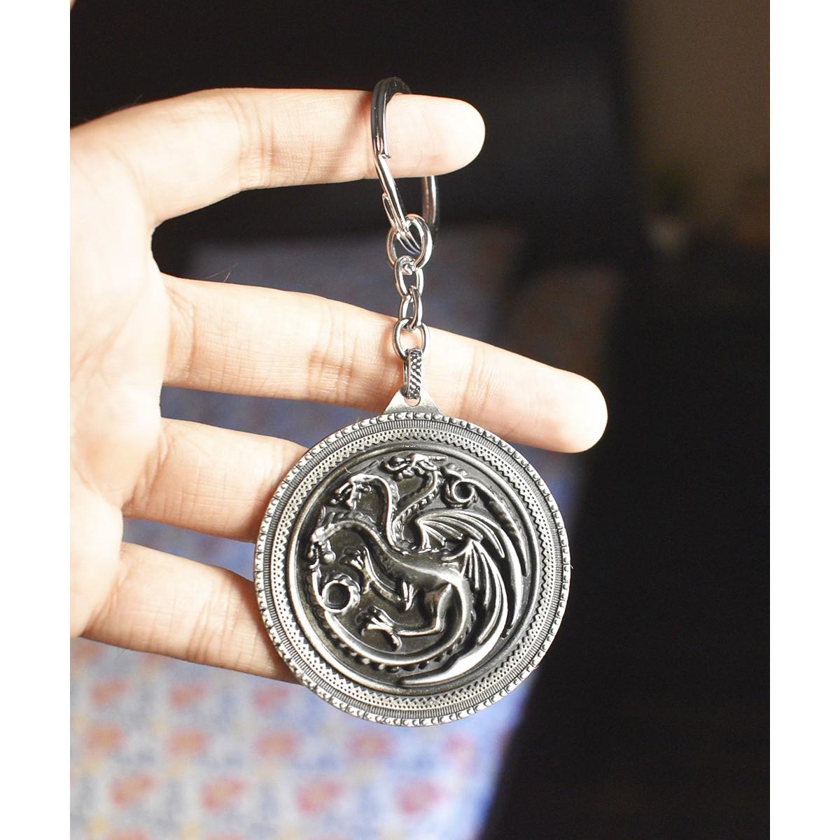 GOT Targaryen House Targaryen 3 Dragon - Metal Keychain - Original HBO Inc. Merchandise