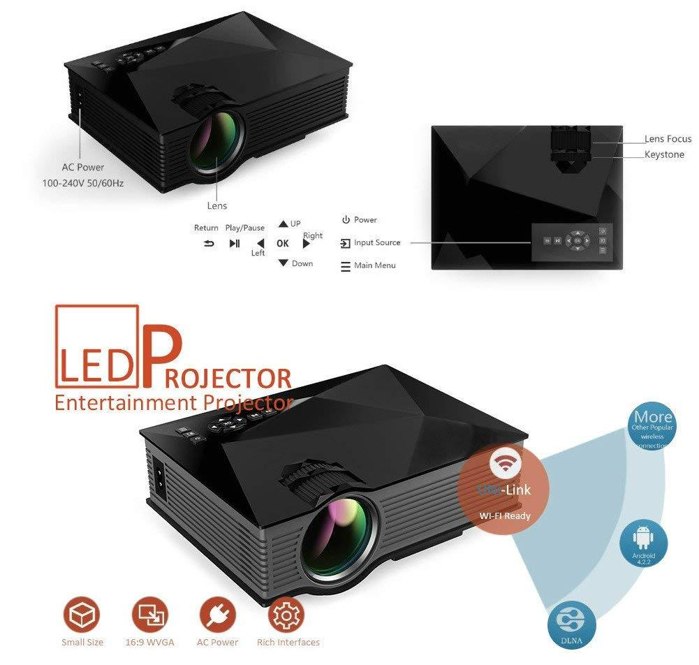 UNIC Link –UC 46 1200 Lumens Wifi HD 1080P LED- Video Projector 3D Wifi  Home Theater SD TV/USB/VGA (N)