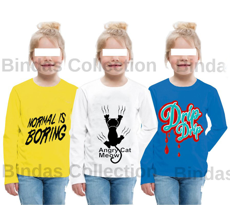 Pack Of 3 Full Sleeves Printed T-Shirts For Girls