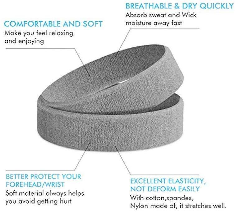 Grey Outdoor Fitness Sports Sweatband Headband Yoga Gym Unisex Head Band