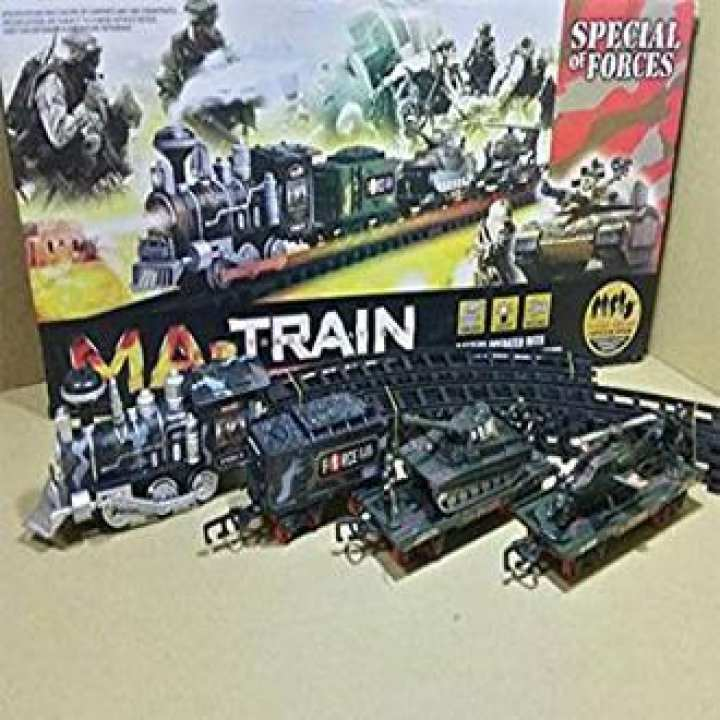 Military Train Track Set With Sound And Light Effec