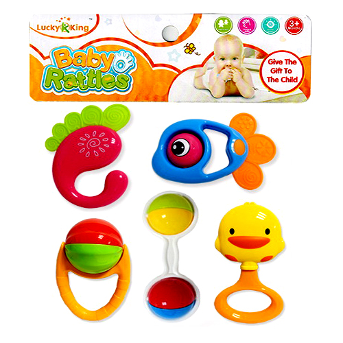 5 Pcs Rattle Play Set for Kids In Multi Colors