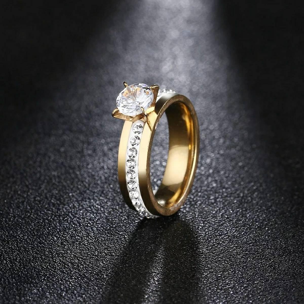 Simulate Diamond Female Golden Promise Ring