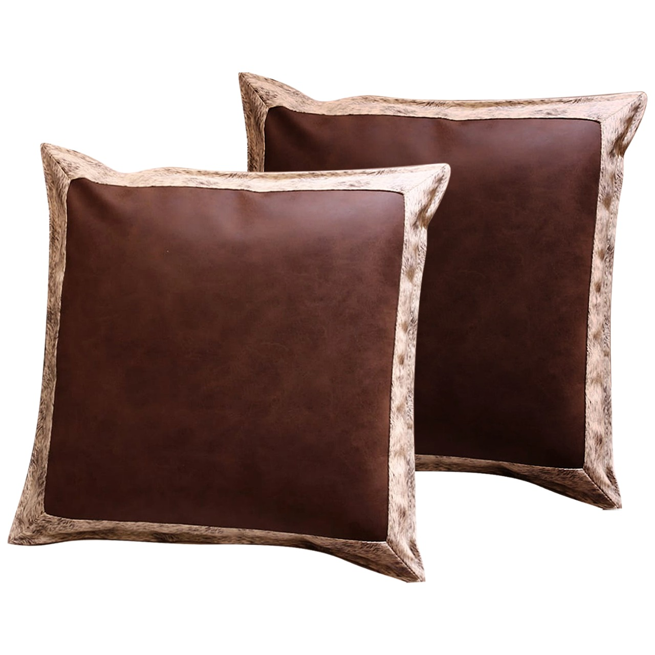 (Pack of 2) Cushion Covers |Throw Pillow Covers |Faux Leather | Home Decoration | 18 by 18 inches