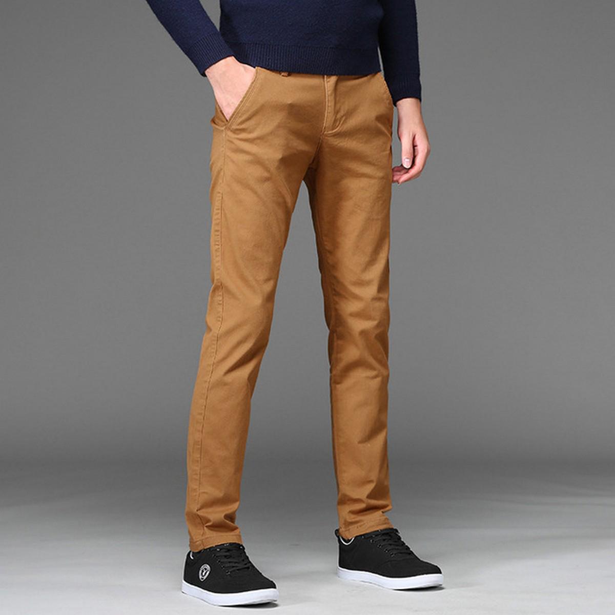 Men's Business Class Camel Color COTTON JEANS Slim-Fit Pants