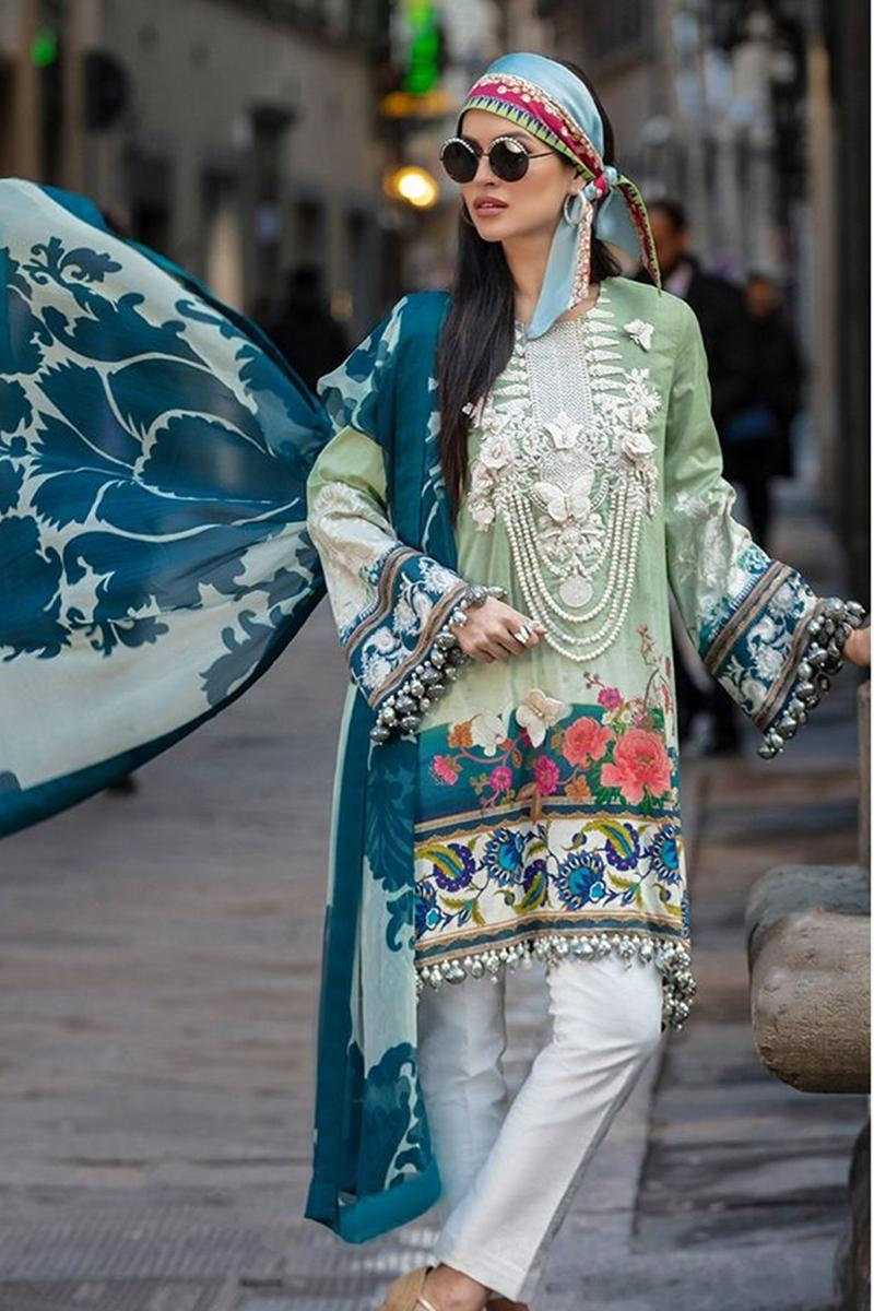 28d038f2a1 Sana Safinaz SS-9A Green Embroidered Three Piece Lawn Collection