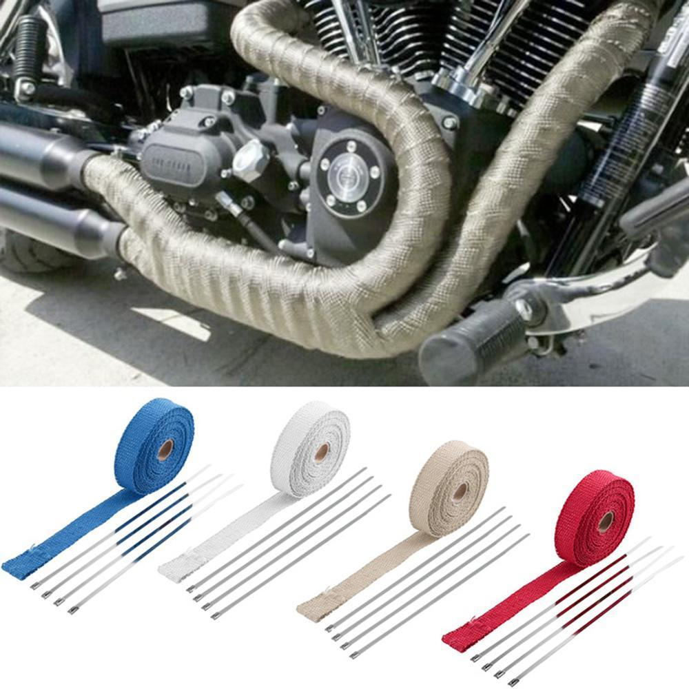 Exhaust Heat Wrap >> 1 200 Roll Titanium Exhaust Heat Wrap For Motorcycle Fiberglass Heat Shield Tape With 4pcs Stainless Ties 4 6 300mm