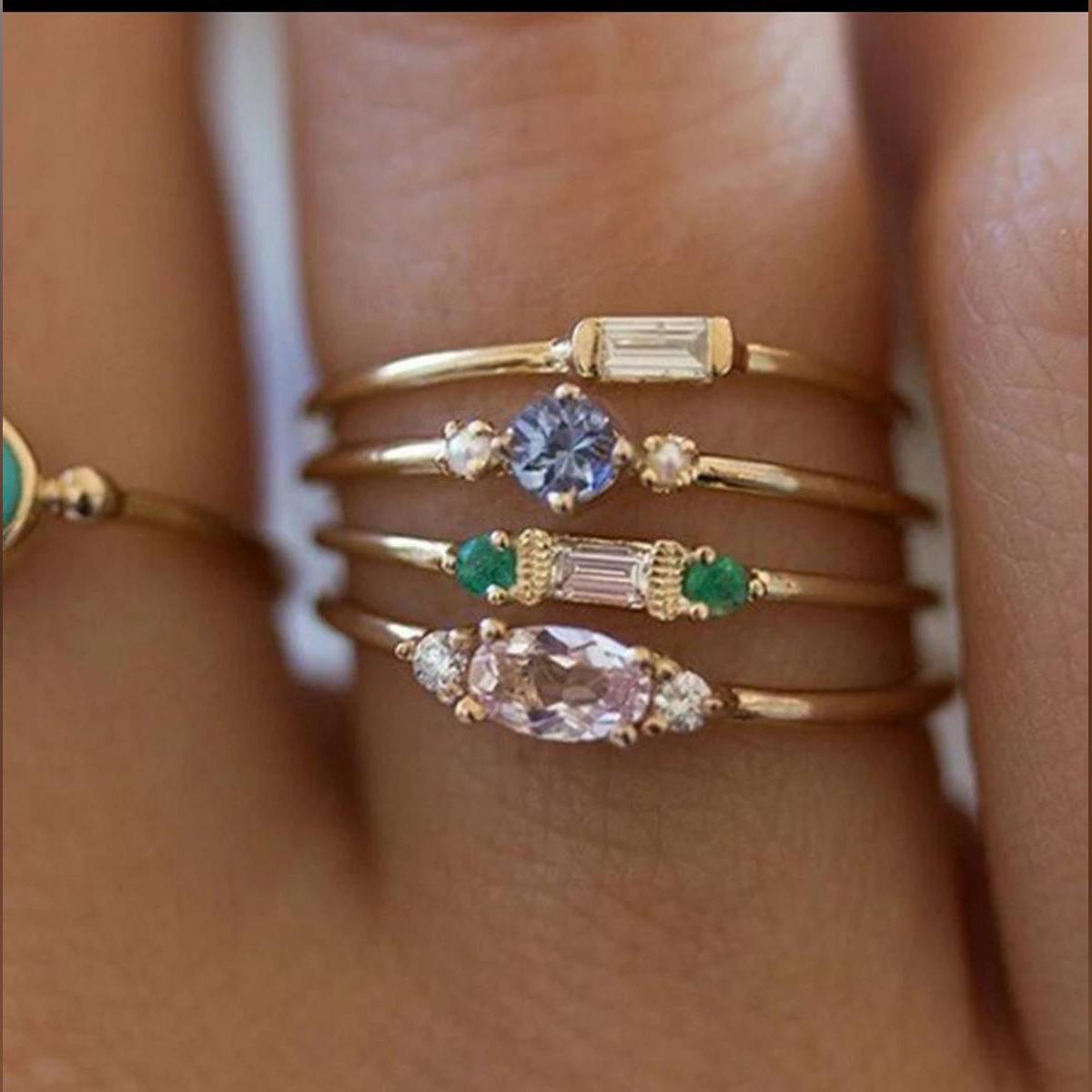4 Pcs/set Crystal Zircon Gold Ring- Set 2019 -Vintage Bohemian -Women Engagement Party Ring -Set Jewelry