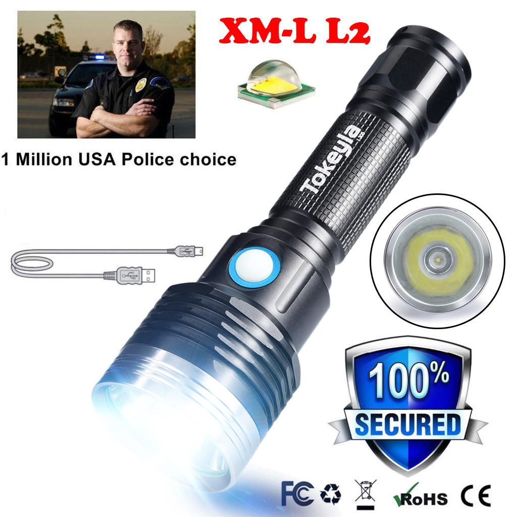 Portable XML-L2 Outdoor USB LED Flashlight Torch Bright 18650 Light Lamp