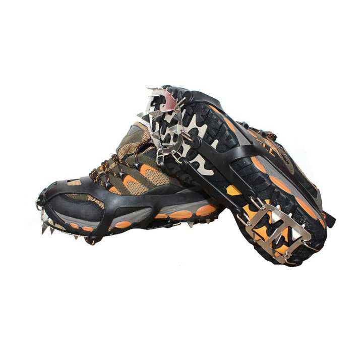 Universal Ice Grippers - Black Ice Cleats, 18 Spikes Anti Slip Crampons