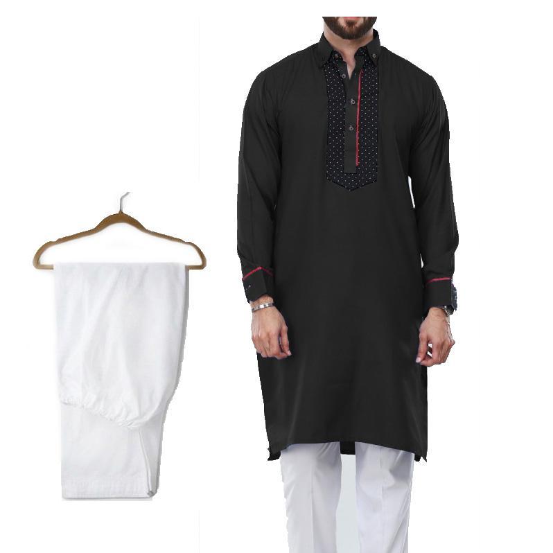 b81448bed Buy 1 Ready Made Designer Kurta For Men - Design 9 - Black + 1 Pajama