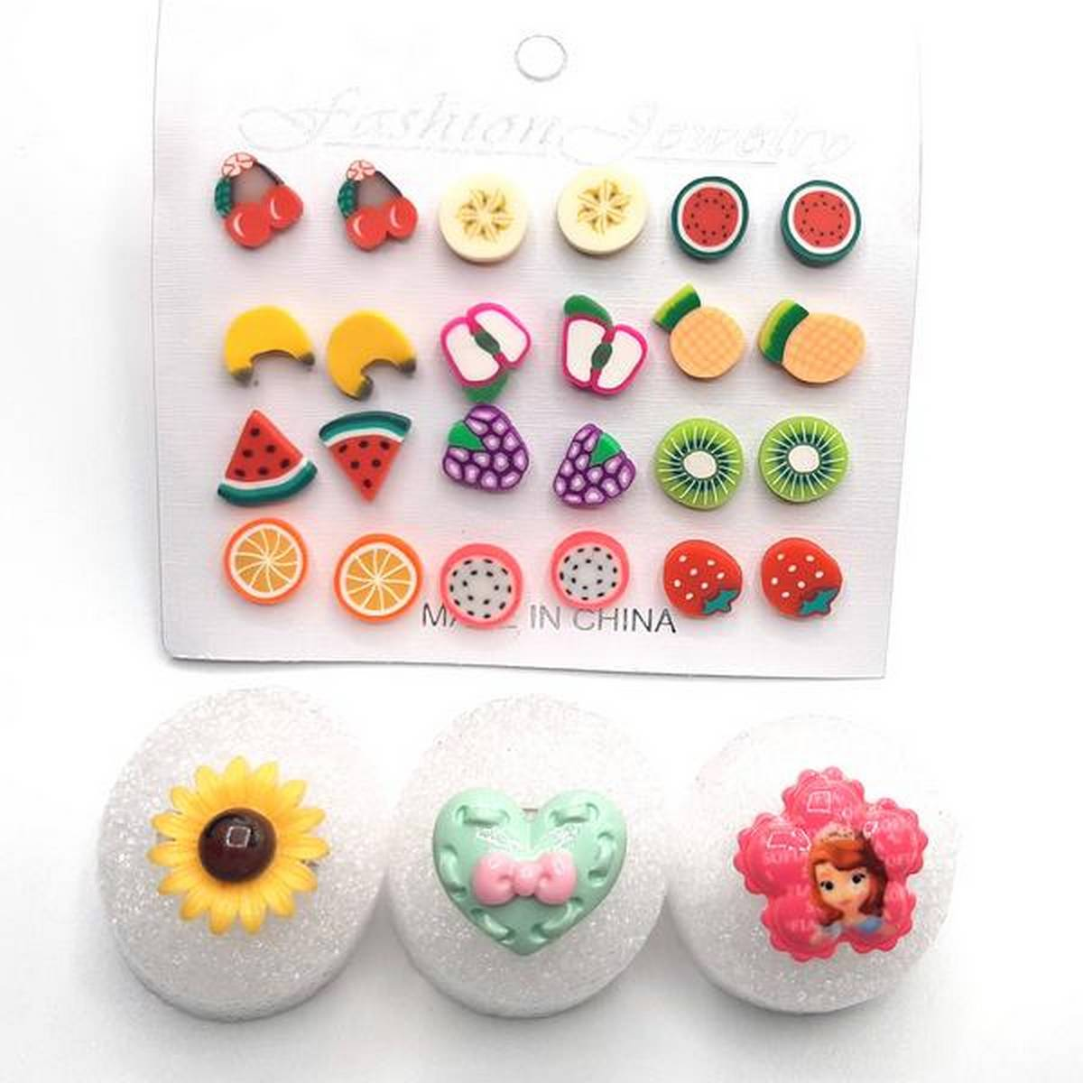 Earrings set of 12 pairs with 3 finger for girls fashion rings tops studs
