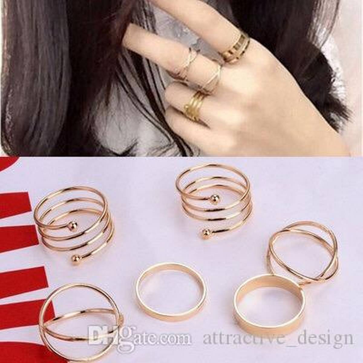 Simple 6 pecs Gold Creative Girls Rings Finger Nail Ring Sterling Personality Nail Art Jewelry Gift