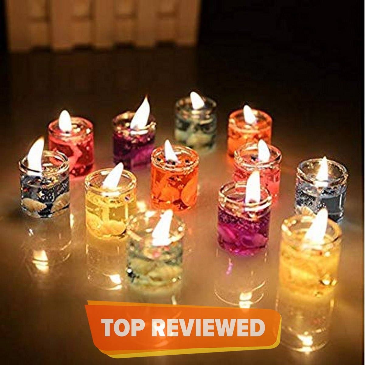 6 Cute Mini Glass Gel Candles Filled With Sea Rocks