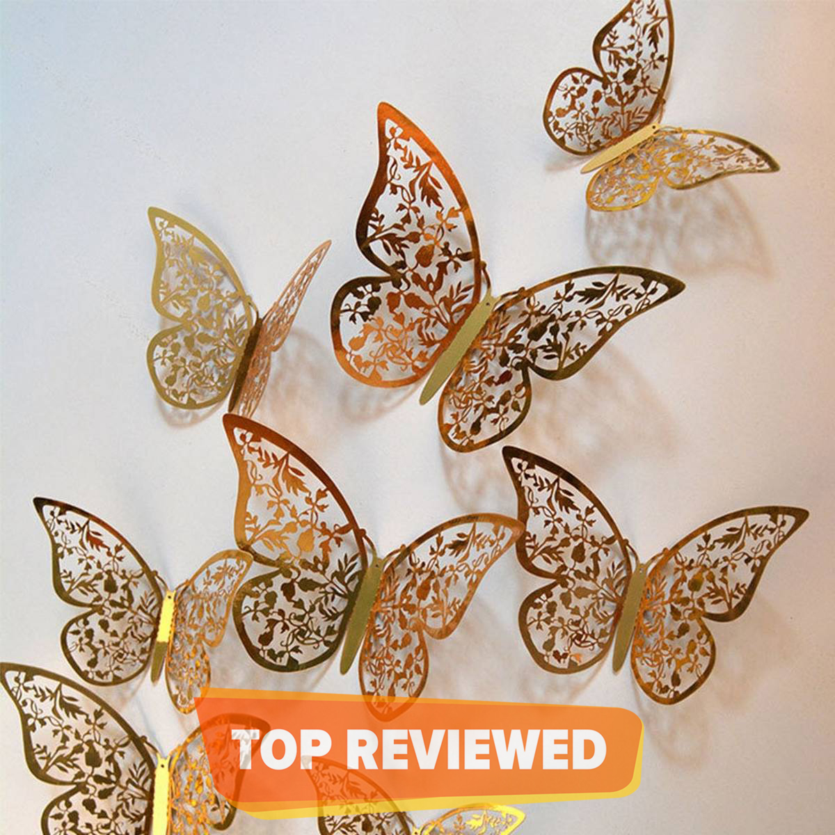 3D Golden Butterfly Mirror Wall Sticker Home Decoration (PACK OF 12)