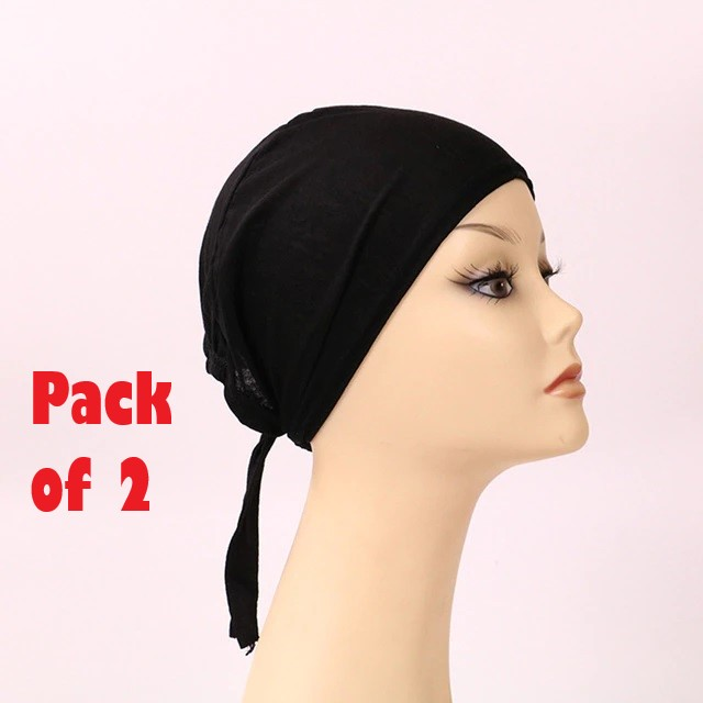 Pack of 2 Plain Black hijab cap and White Hijab Caps for Girls JK Cart Inner Hijab Scarf Islamic Under Scarf Cotton Islamic Hat Abaya Cap Available in Black and White