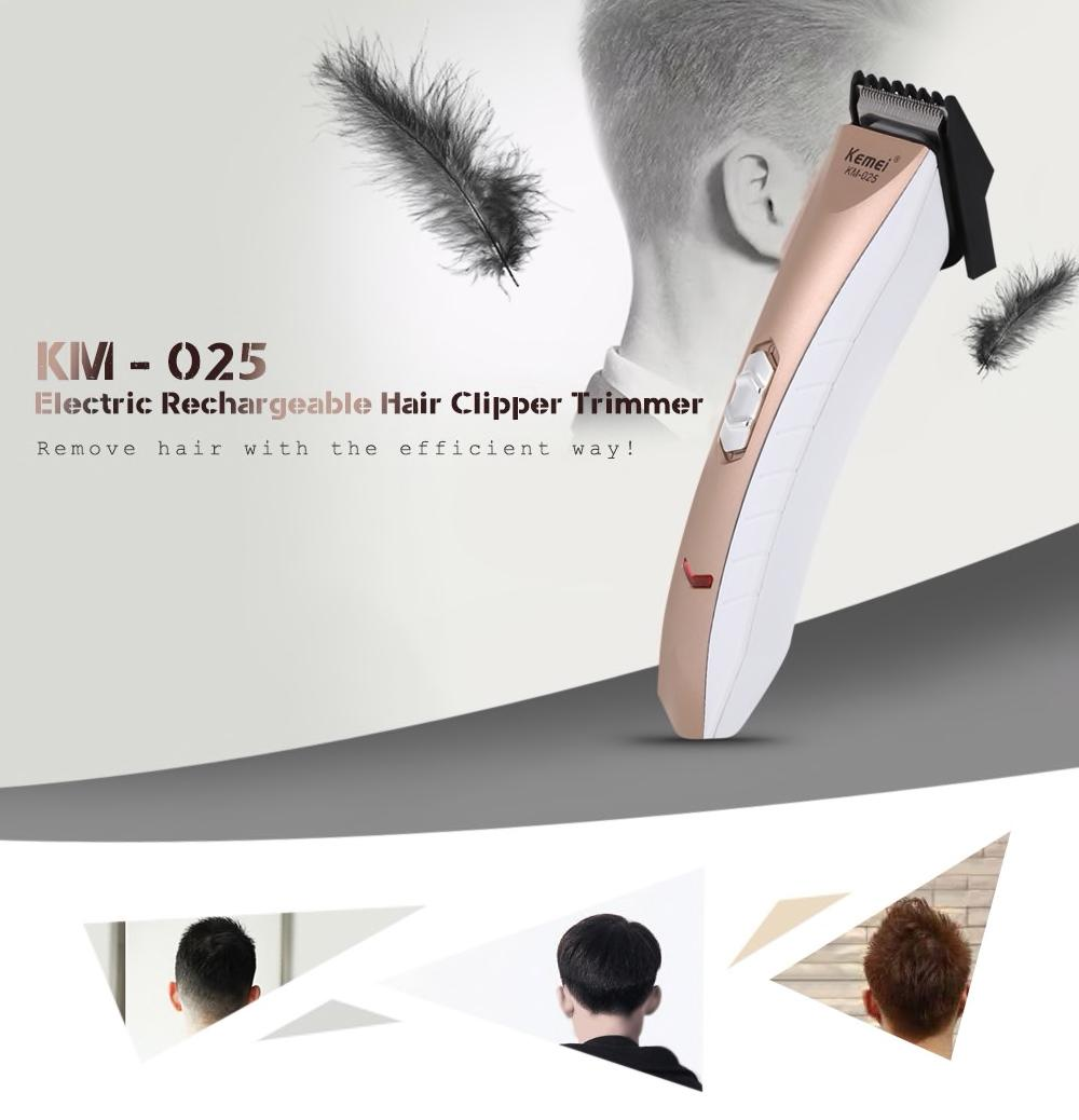 Kemei KM - 025 Electric Rechargeable Hair Clipper Trimmer Shaver Razor Adjustable Clipper Haircut for Men