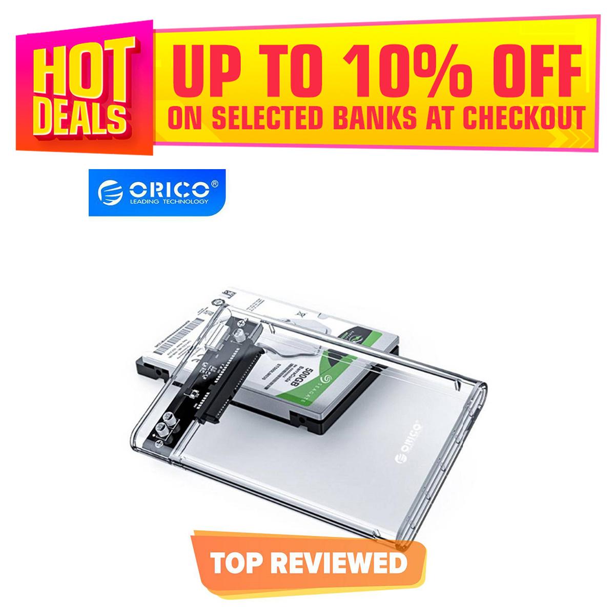 ORICO HDD Case 2.5 Inch Transparent SATA to USB 3.0 External Hard Drive Enclosure