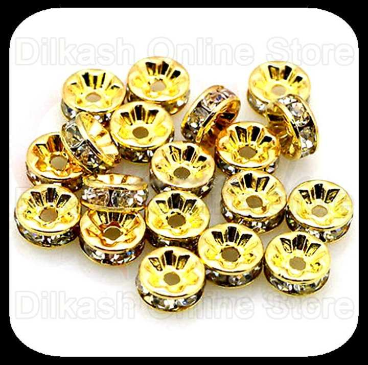 Beautiful Spacer Beads with Clear Rhinestones - White Stones