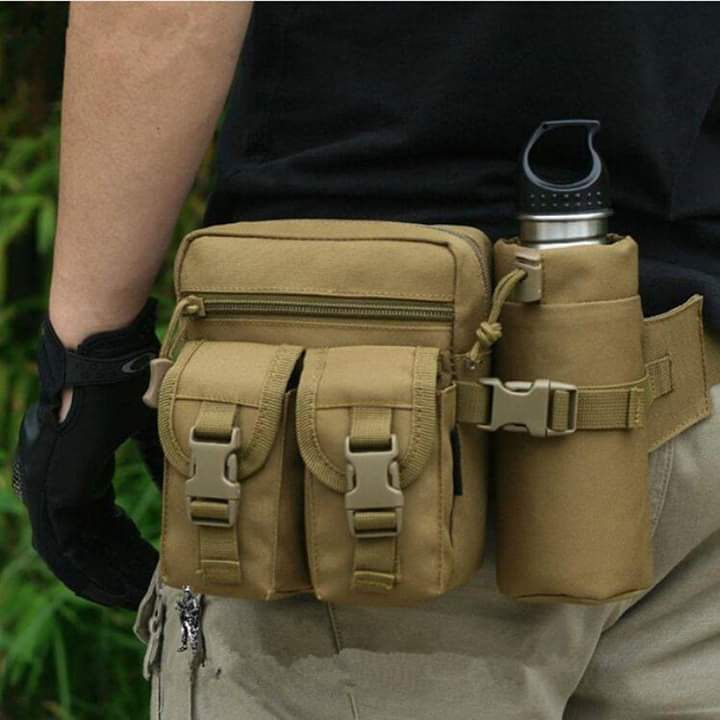 Waist Pouch With Bottle Holder Black and Other