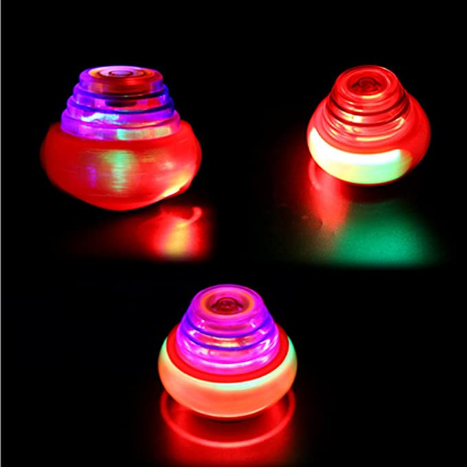 Glowing Kid's Spinning Toys Colorful UFO Flash Space Top Light LED Gyro Music Gyroscope