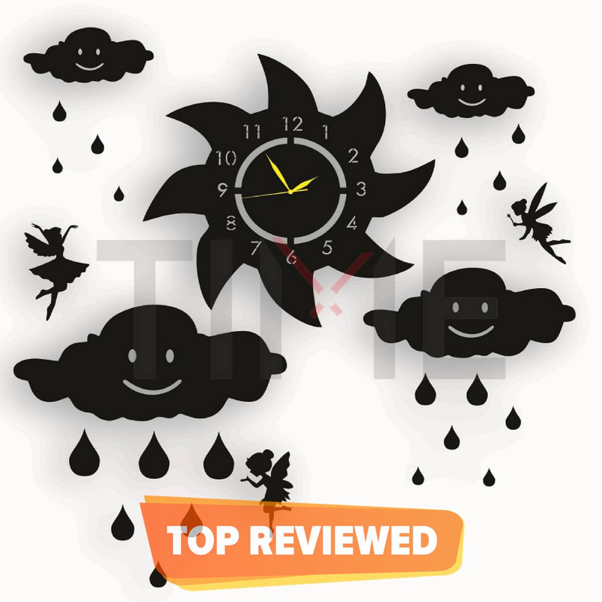 Special design top quality modern wall clock decorative fairy wall clock with Clouds & Rain Drops & Sun, Girls Room 3D Laser Cut Wall Clock