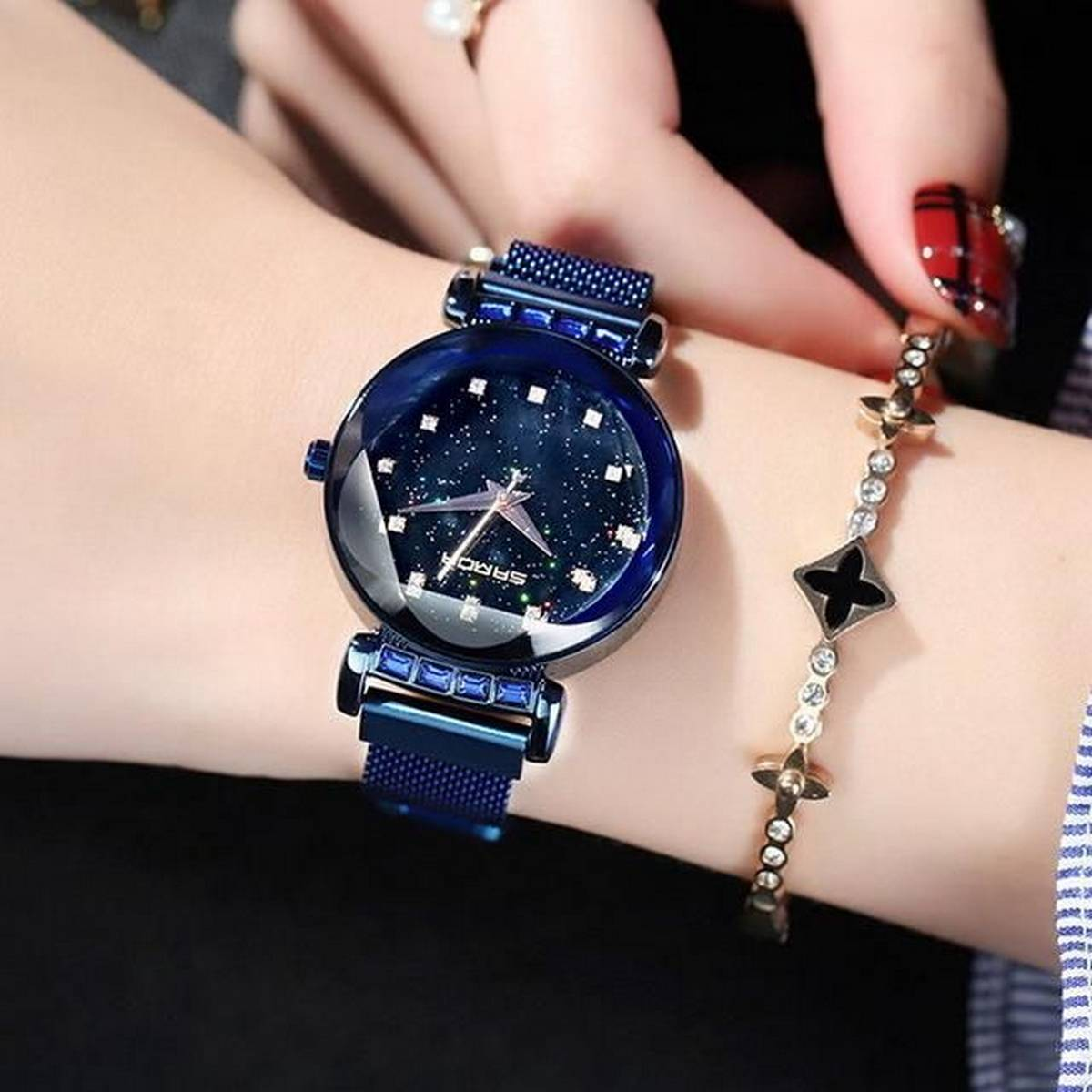 New Laxurius Looking 2020 Magnet Buckle Starry sky Quartz Watches For Girls & Women - Magnetic Chain Belt Analog Watch-TW786