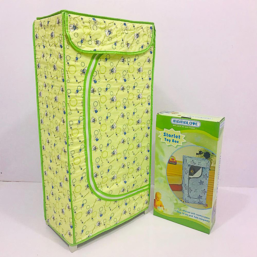 Mama Love 3 Shelves Folding Wardrobe Almari For Kids