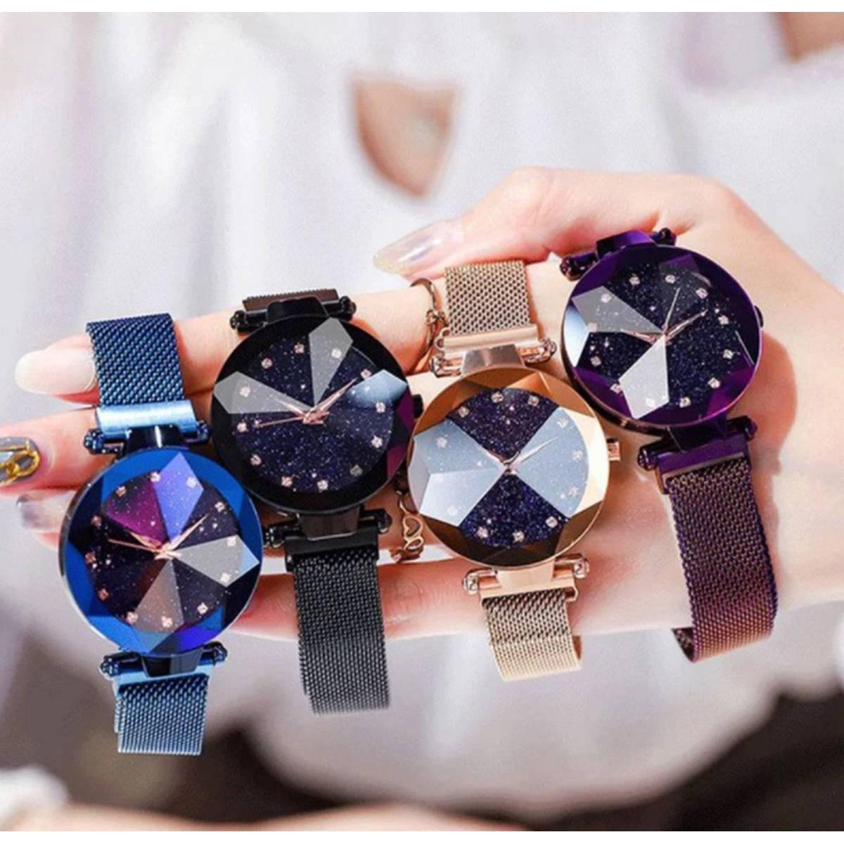 Luxury Women Starry Stylish Quartz Magnetic Wristwatch for Girls Fashionable Magnetic wrist watch for women