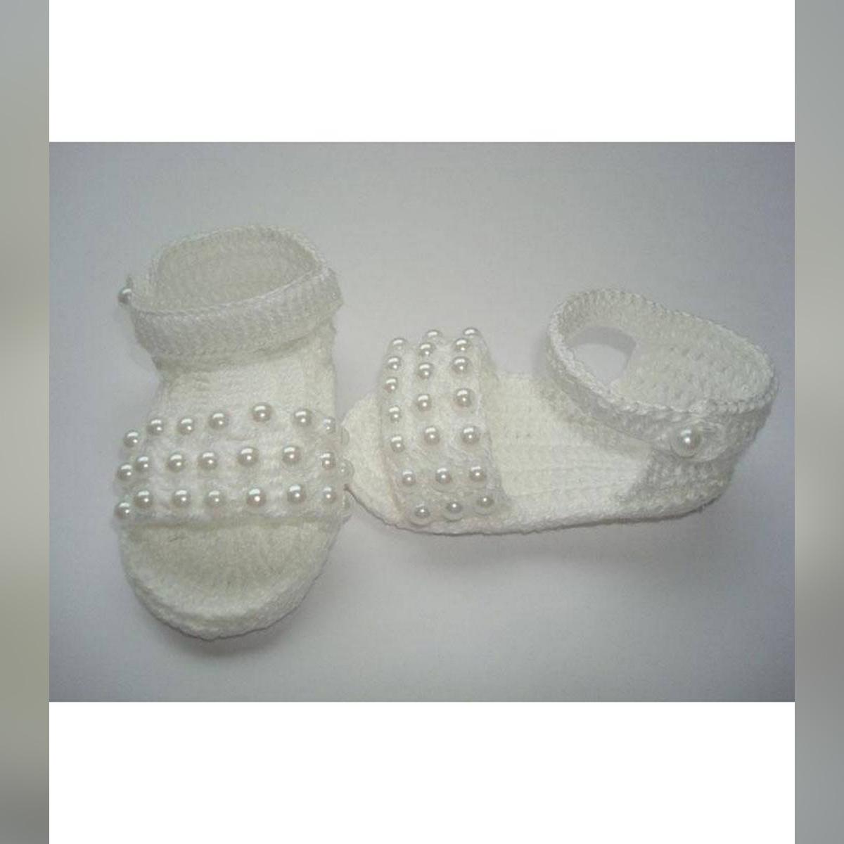 Multi Pearls Woolen Handmade Crochet Baby Summer Sandal